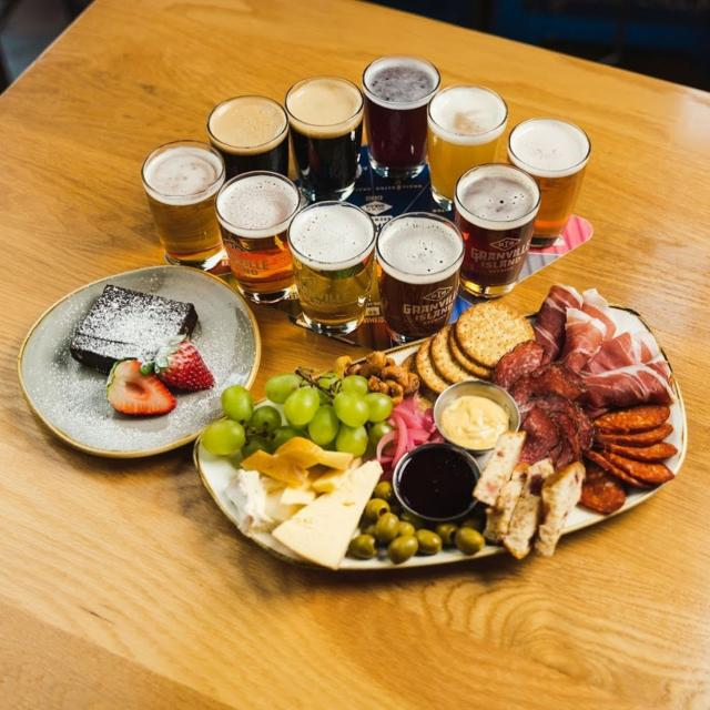 Valen-Pints continues in our taproom!  This weekend only, we're offering this Granville Island Market charcuterie board special for two, so you can treat someone special... even if they're just your roommate or family member, we can promise you'll be in love with these flavours.   The board features charcuterie from @oyamasausage and @bentonscheese with a red velvet brownie from @abreadaffair. Pair it with Juicebox IPA and Molten Chocolate Stout and THAT is a perfect long weekend.   #myGIB #granvilleislandbrewery #granvilleislandbrewing #valentines #yvrcraftbeer #vancouvercraftbeer