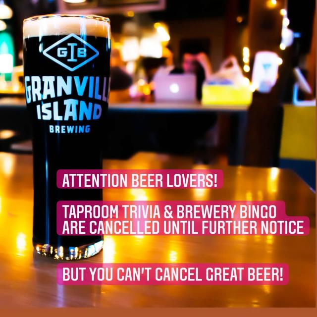 Thankfully though we are open for our usual great service with amazing beer!   Open 12:00pm - 8:00pm everyday with delicious beer and tasty food for your household 🍺  #bc #granvilleislandbrewing #vancouver  #craftbeer #trivia #bingo #granvilleisland  Photo credit @backpackingcraic