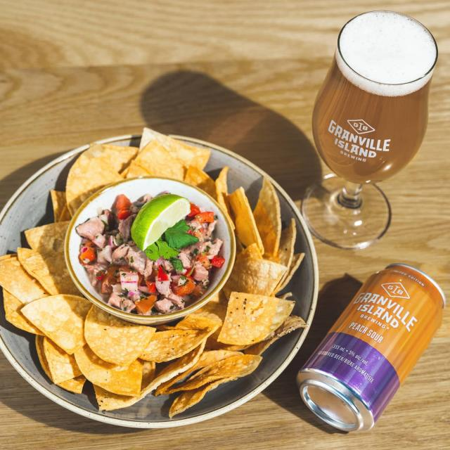How does a beer bursting with peachy goodness and our new ceviche dish pair so well together?   We're convinced once you try our new Peach Sour with o