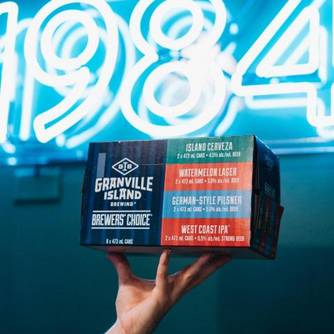 Living for this summer Brewer's Choice mixer pack! .  Order online for curbside pickup or checkout our delivery schedule to Vancouver and surrounding areas! .  #geanvillebeer #granvilleisland #granvilleislandbrewing #bcbeerdelivery #bcbeer