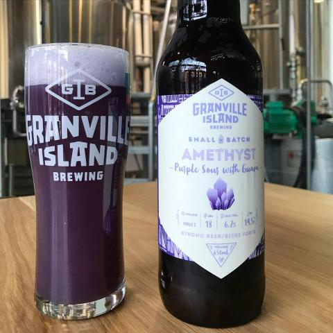 SMALL BATCH RELEASE: Amethyst Purple Sour with Guava pours a deep hazy purple, thanks to butterfly pea flower. (Yes, just like Empress Gin!) ALC. 6.2% |  IBU 18 .  This malted barley and oat malt based batch is soured overnight with our house strain of lactic acid bacterias. It is set to boil in the morning, leaving a clean bright tartness without a mouth puckering sourness. Tropical toned mosaic hops are added to brighten the fruit flavour, and a pinch of salt is added for balance. Red guava puree is added in the tank to release it's juicy tropical fruit flavours. The beer is fermented with a New England IPA yeast for a round mouthfeel and deep haze. . .  AVAILABLE NOW for purchase in our online store GiB.ca for delivery in Greater Vancouver or curbside pickup from 12-8pm at the brewery.  #smallbatch #granvilleislandbrewing #granvillebeer #amethystpurplesour